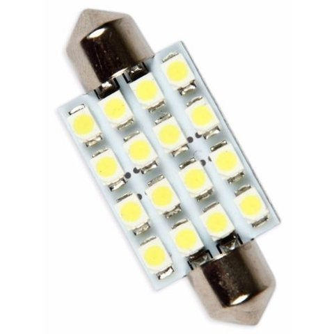Lampada Torpedo 41mm 16 Led Super Branca Teto Placa Xenon