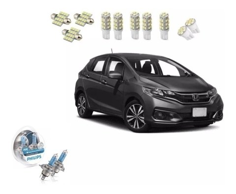 Kit Lampadas Led Honda Fit 2018 + Farol Super Branca