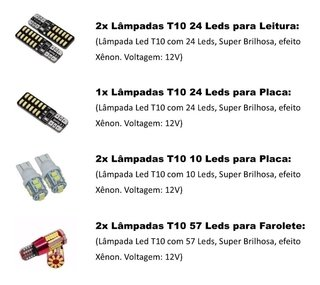 Kit Lampadas Led Internas + Farolete E Placa Fiat Argo