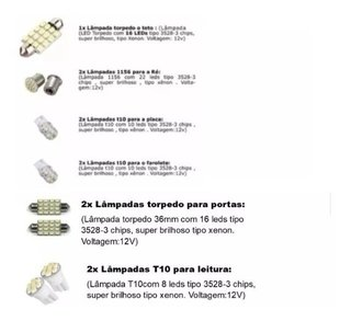 Kit Lampadas Led Internas + Ré E Placa Crossfox