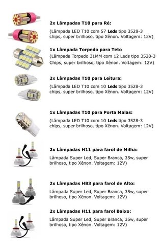 Kit Lampadas Led Internas + Super Led Farois Corolla 2019