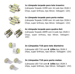 Kit Lampadas Led Internas Trailblazer 15/16