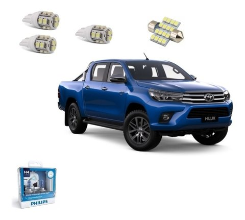 Kit Lampadas Led + Philips Diamond Vision Farol Hilux 2017