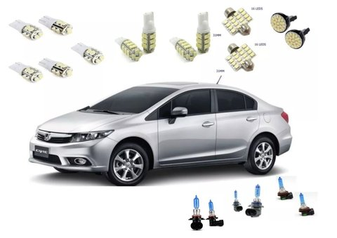 Kit Lampadas Led +super Branca Farol/milha Honda Civic Fit