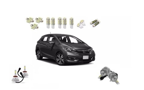 Kit Lampadas Led + Super Led Farol E Milha Honda Fit