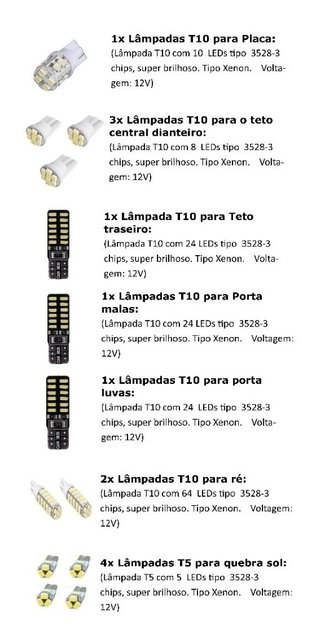 Kit Lampadas Led Tipo Xenon C4 Lounge