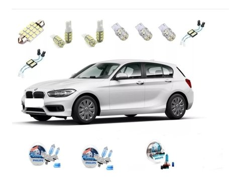 Kit Led + Philips Crystal Vision Alto Baixo Milha Bmw 118i