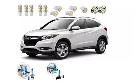 Kit Led + Philips Crystal Vision Alto Baixo Milha Honda Hr-v