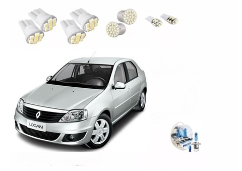 Kit Led + Philips Crystal Vision Farol Logan 2012