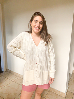 Cardigan Bethany - Oversized Trançado Off White