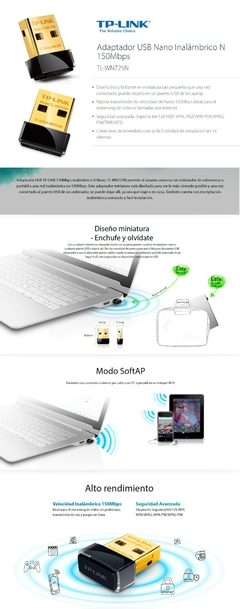 Adaptados Wifi USB TP-LINK TL-WN725N en internet