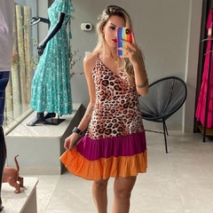 Vestido Animal Print e Color Block