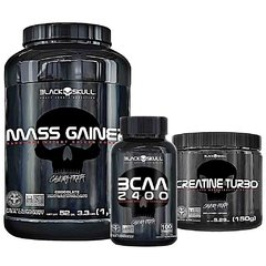COMBO BLACK SKULL MASS GAINER 1.5KG + BCAA 2400 120 CAPS + CREATINA TURBO 150G - comprar online