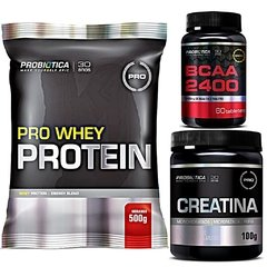 COMBO PRO WHEY PROTEIN 500G + CREATINA 100G + BCAA 2400 60 CAPS - BNGM SUPLEMENTOS
