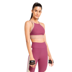 Top Live Halter Mix Block Feminino - Rosa e Marrom na internet
