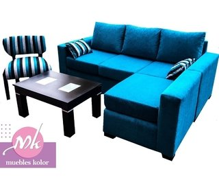 "SILLON ESQUINERO ""KOLOR"" CON PUFF MOVIL CON BRAZO"