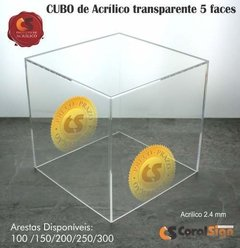 CUBO 5 FACES Acrílico 2.4mm Transparente - comprar online