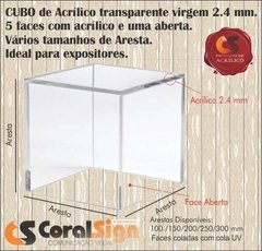 CUBO 5 FACES Acrílico 2.4mm Transparente