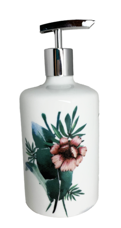 Dispenser Floral Tropical para Álcool Gel ou Sabonete Líquido