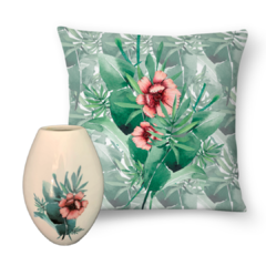 Kit Floral Tropical Vaso + Almofada