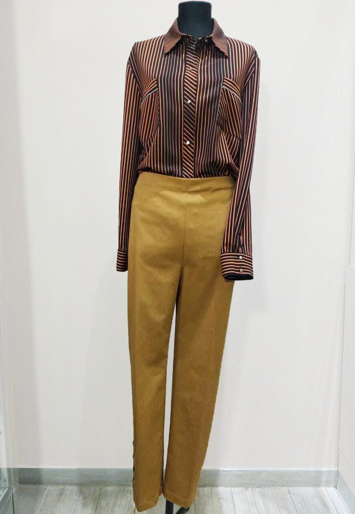 Pantalon De Gabardina Elastizada Tiro Alto Y Cierre Invisible Lateral
