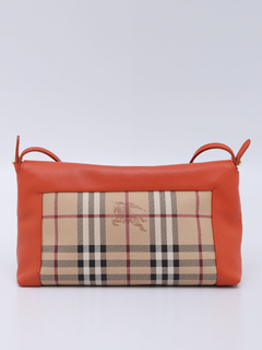 Bolsa Burberry Haymarket Check Orange Crossbody - Paris Brechó