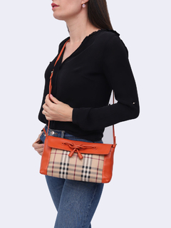 Bolsa Burberry Haymarket Check Orange Crossbody - comprar online