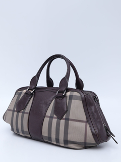 Mala Burberry Smoked Check Coated Canvas Shoulder - Paris Brechó