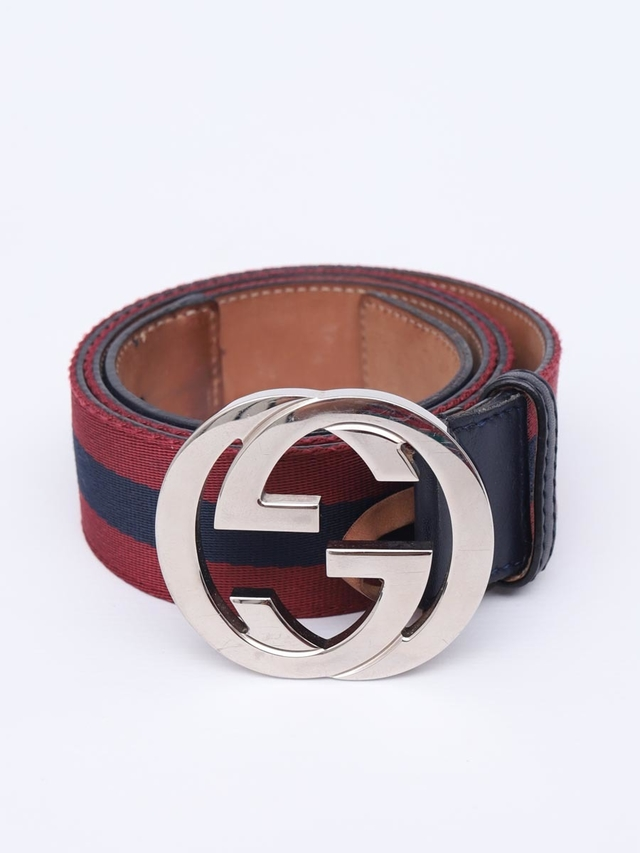 Cinto Gucci Web Interlocking GG Buckle Tam 85