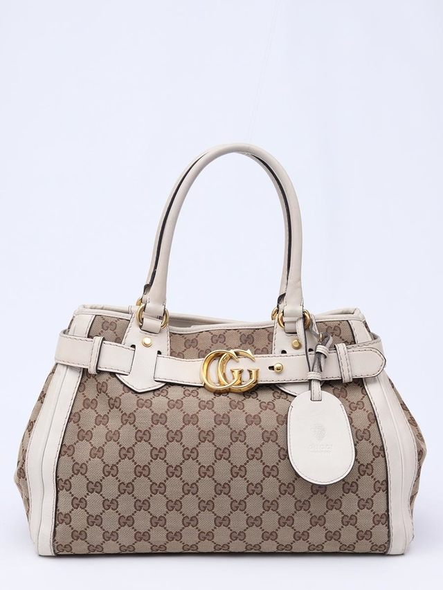 Gucci Beige/White GG Canvas Running Tote