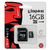 Micro SD 16 GB + Adaptador Marca KINGSTON