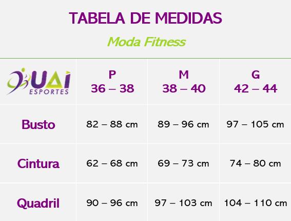 Tabela de Medidas - Moda Fitness