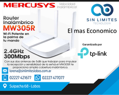 Router Inalámbrico Mercusys By Tp-link Wi-fi 300n Mbps 305r