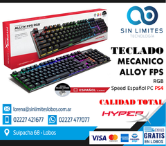 Teclado gamer HyperX Alloy FPS QWERTY Kailh Silver Speed RGB