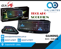 Teclado Gamer Genius Gx Scorpion K215 Retroiluminado Usb
