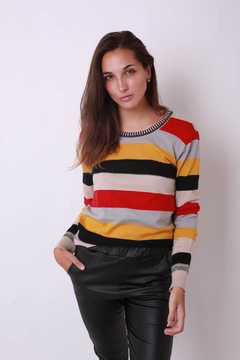 Sweater de hilo elastizado, a guardas multicolor