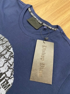 Camiseta Philipp Plein - Caveira Azul Lisa - MEN's Closet
