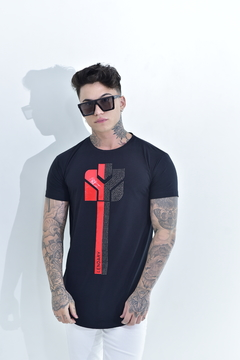 Camiseta Long Line Red and black strass na internet