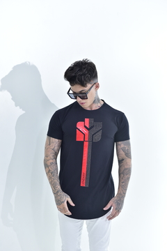 Camiseta Long Line Red and black strass - loja online