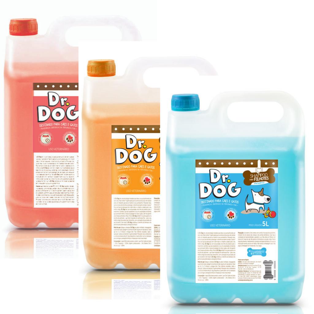 Kit Banho Tosa Dr. Dog 3Xshampoos 5L Cachorro E Gato Hipoalergênico