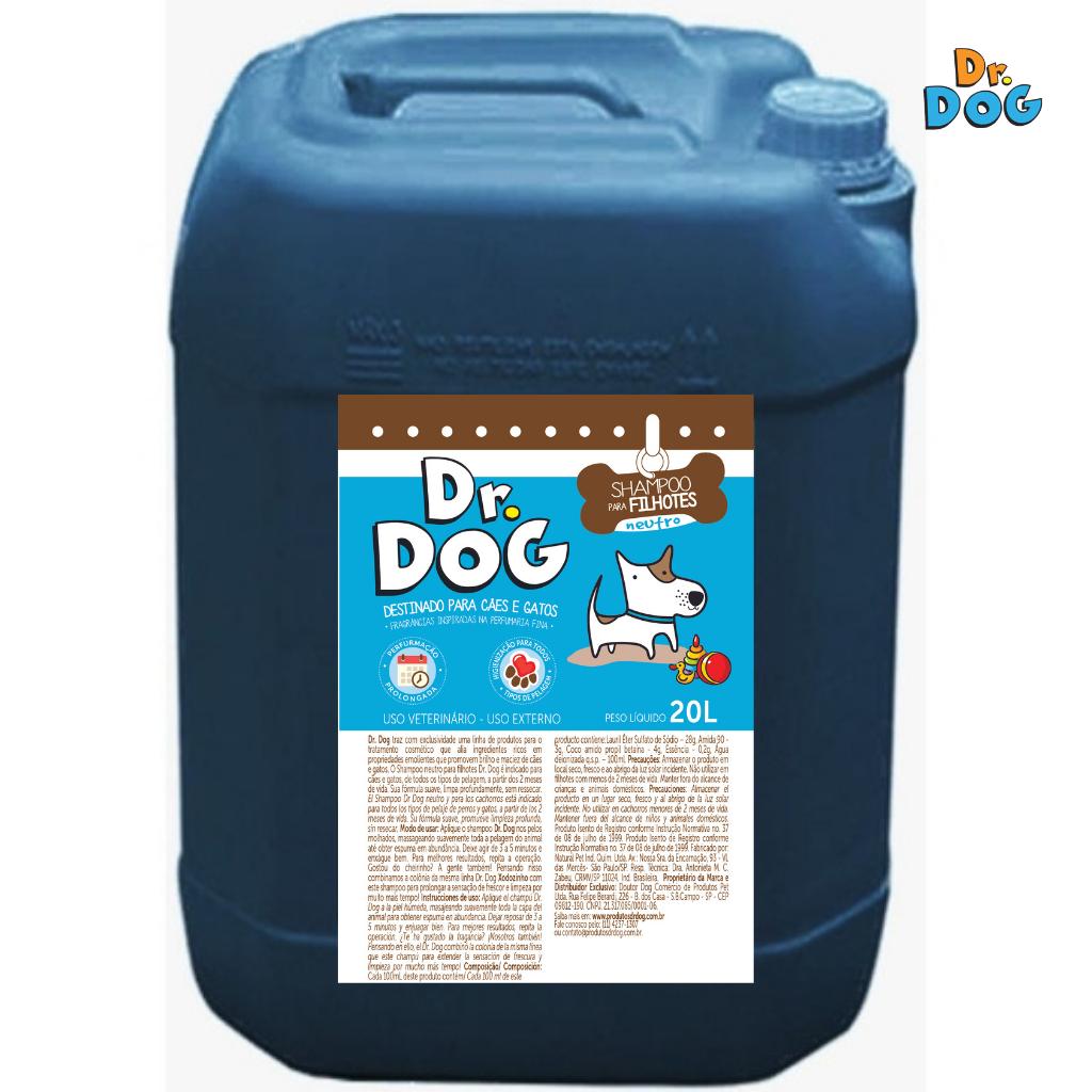 Dr Dog Shampoo Neutro E Filhotes Cachorro E Gato 20L Hipoalergênico Pe...