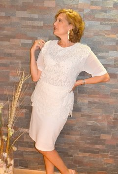 Blusa blanca encaje y strass - Ideal Novia de Civil