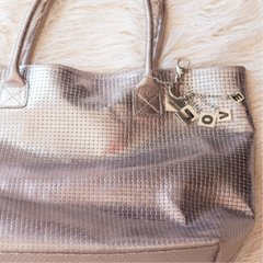 cartera cuero plata peltre entrelazado leather bolso handbag bag