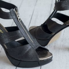Marion Glitter Black Sandals - Frou Frou Shoes