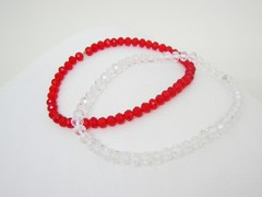 Pulseras Dúo- Red and White - Cristales