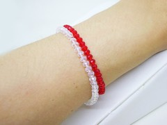 Pulseras Dúo- Red and White - Cristales - comprar online