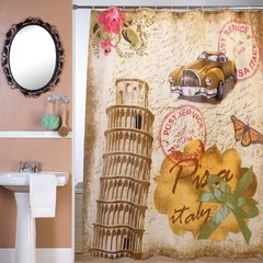 Cortina Baño Teflon Panel Print Diseño Rose In Italy