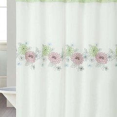 Cortina Baño Teflon Chenille Luxury Diseño Flower File