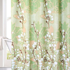 Cortina Baño Lino Diseño Cotton Flowers Verde