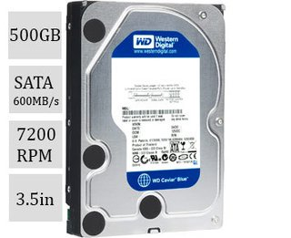 HD Interno Western Digital 500G SATA 600MB/s 7200rpm 16M 3.5in (WD5000AAKX-00U6AA0)